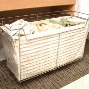 Pull out hamper with canvas liner