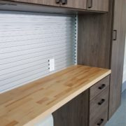 Unique Custom Closets, custom closets Wilmington, Wilmington NC, garage storage, garage accessories, custom garage shelving, garage shelving, garage work station, work station, custom work station, custom garage work station, all wooden garage work station